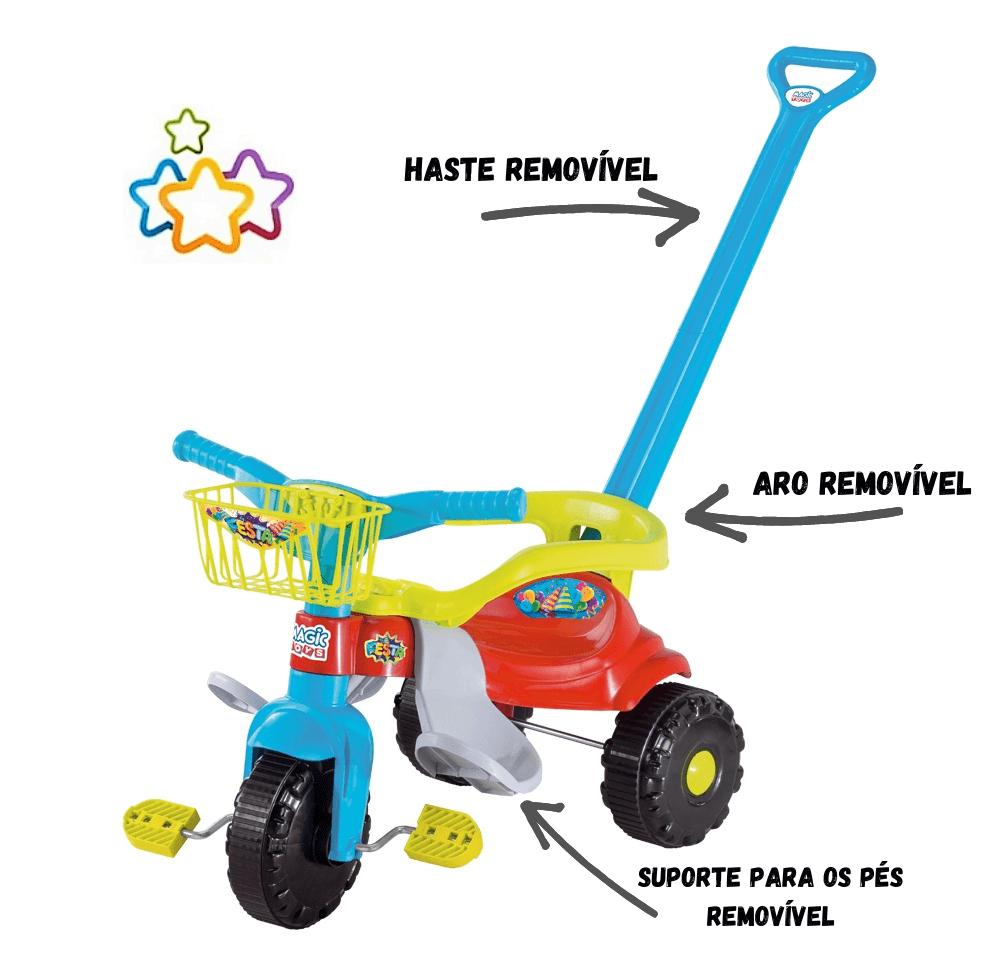 Triciclo Tico Tico Festa Azul Com Aro - Magic Toys  - Tem Tem Digital