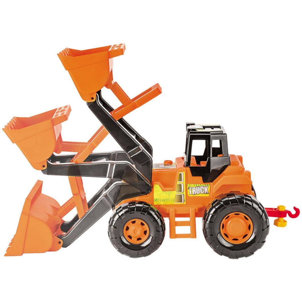 Trator Amarelo de Brinquedo Com Escavadeira Truck Magic