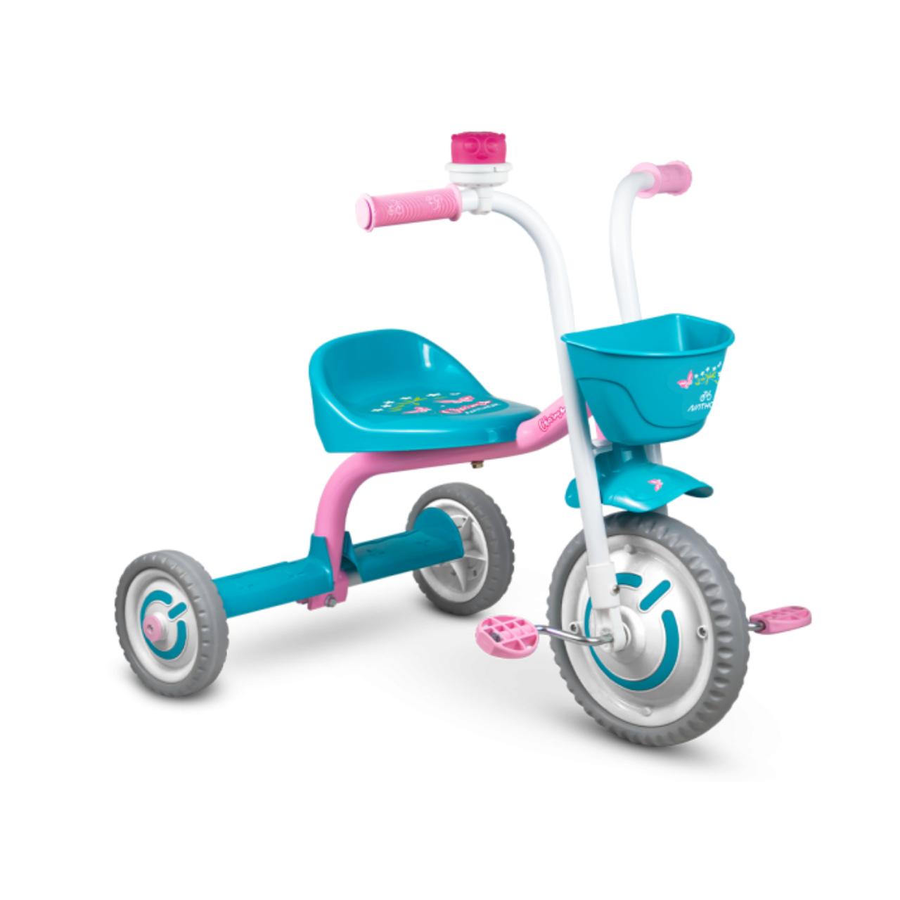 Triciclo Baby Charm Infantil Menino E Menina Azul e Rosa - Nathor
