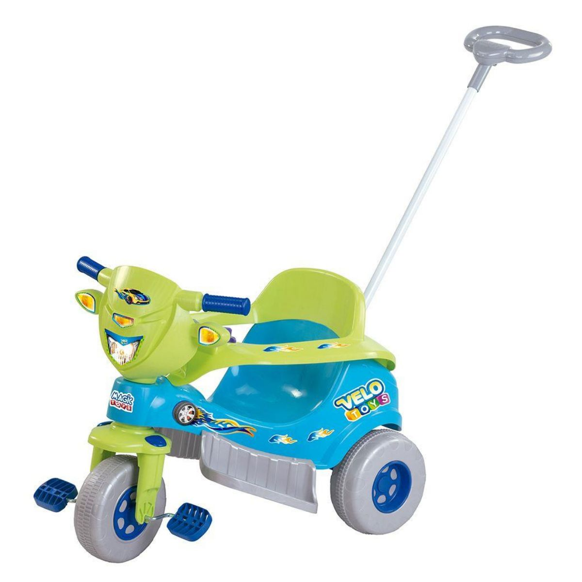 Triciclo Infantil Grande Velo Toys Azul c/Capacete - Magic Toys 3720