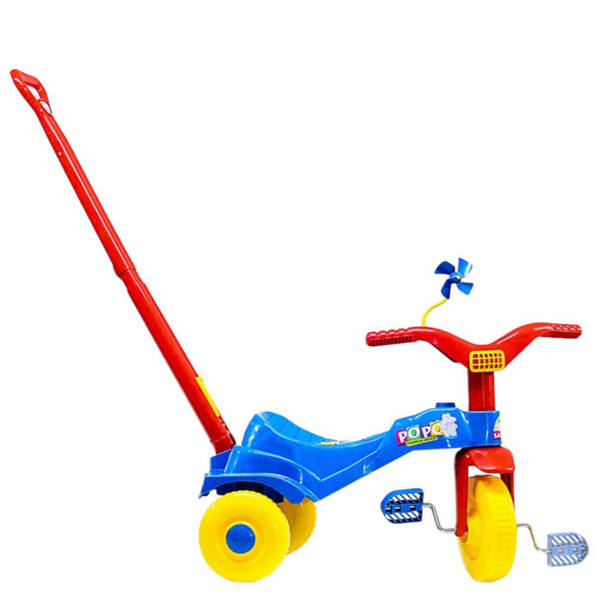 Triciclo Infantil Motoca Popó C/ Alça Tico Tico Vermelho Amarelo e Azul