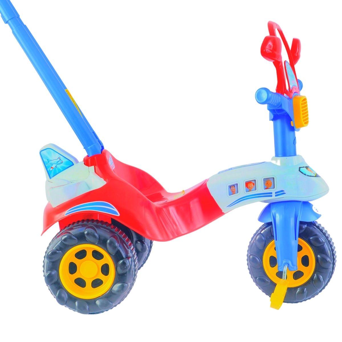 Triciclo Infantill Motoca Red Avião Tico Tico Vermelho e Azul