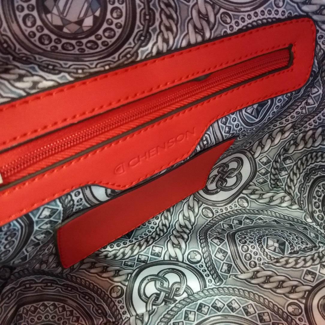 Bolsa Baú Vermelha Vazado Laser Aplique Cristais Chenson