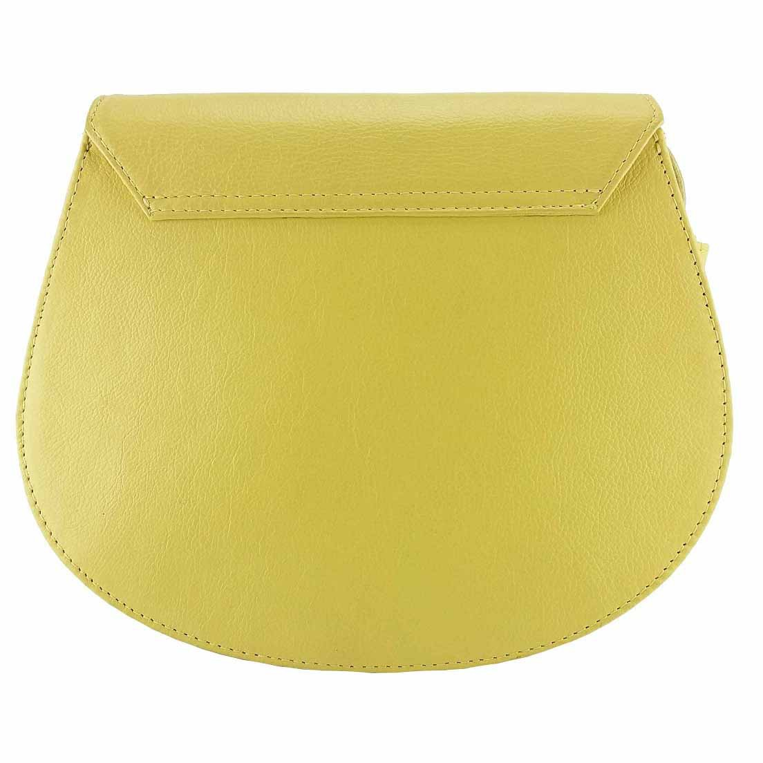 Bolsa Classe Couro Transversal Amarelo