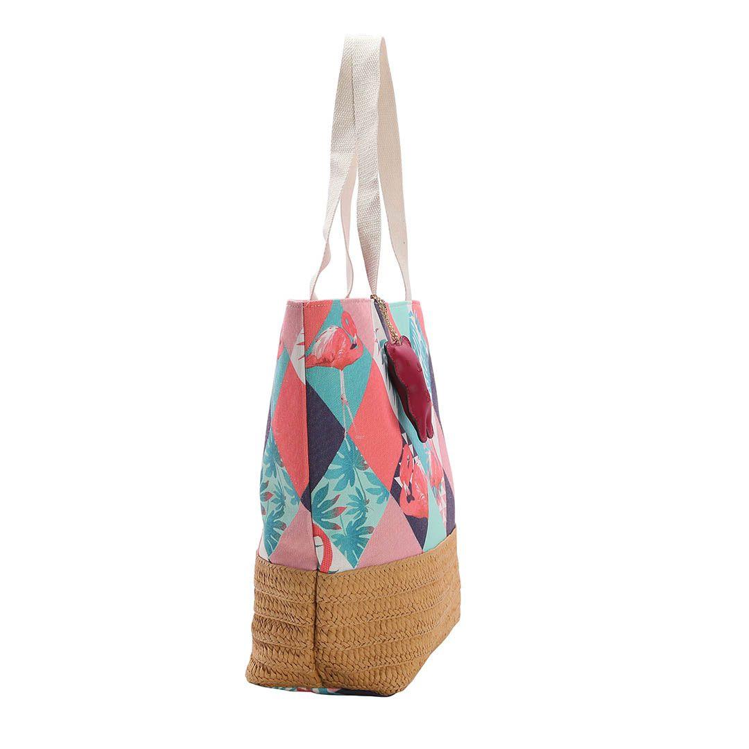 Bolsa Feminina Praia Azul Flamingos Chenson