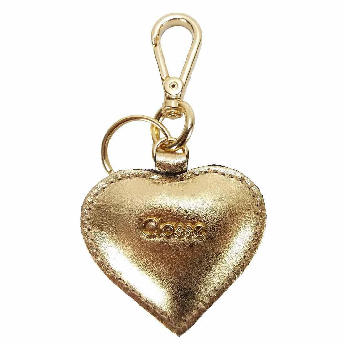 Chaveiro Classe Couro Coração Dourado