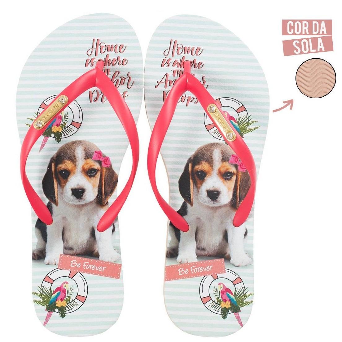 Chinelo Be Forever Beagle Vermelho
