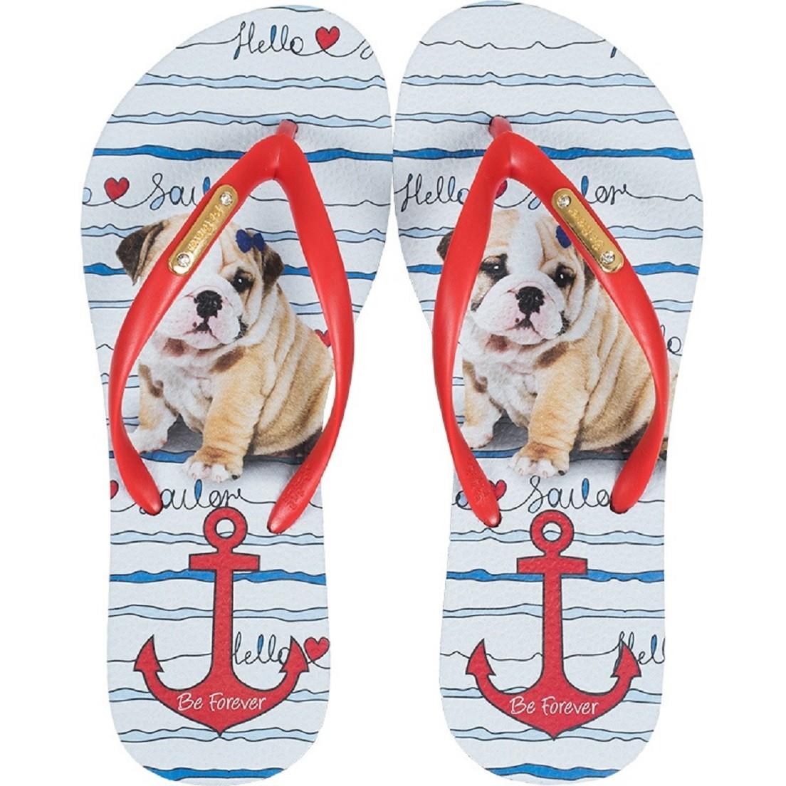Chinelo Be Forever Bulldog Sailor Âncora Vermelho