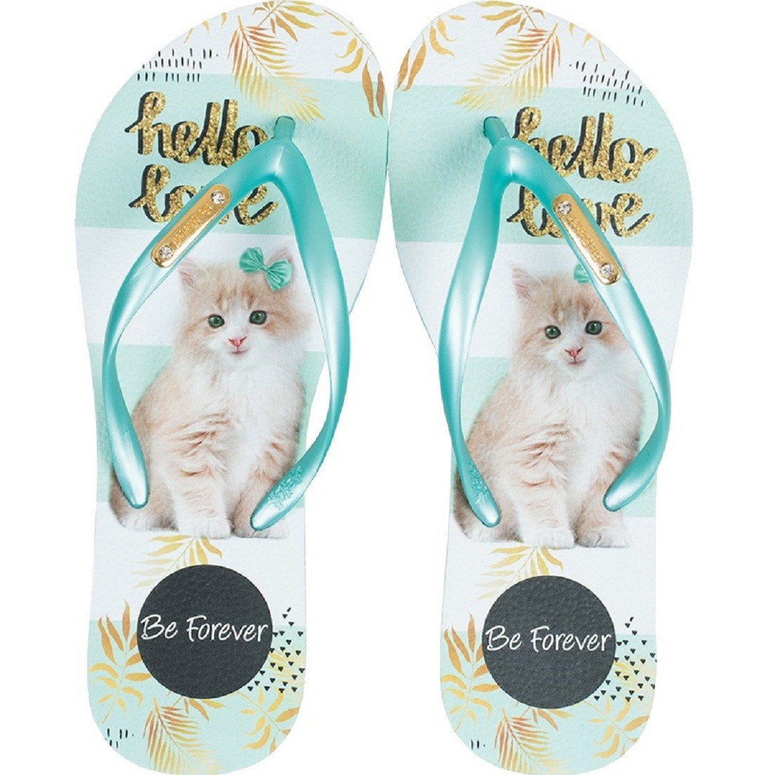 Chinelo Be Forever Gato Hello Love Verde