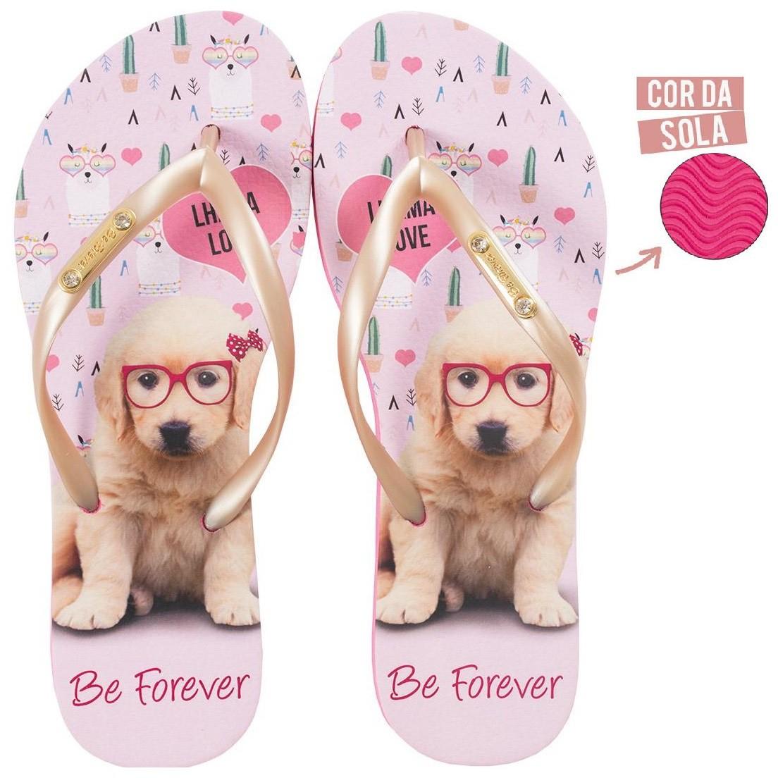 Chinelo Be Forever Labrador Dourado Rosa