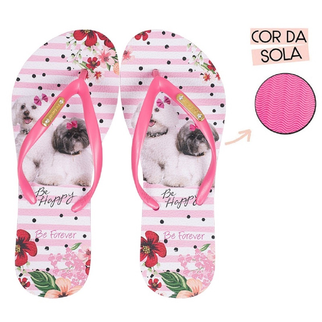 Chinelo Be Forever Shitzu Poodle Friends Rosa