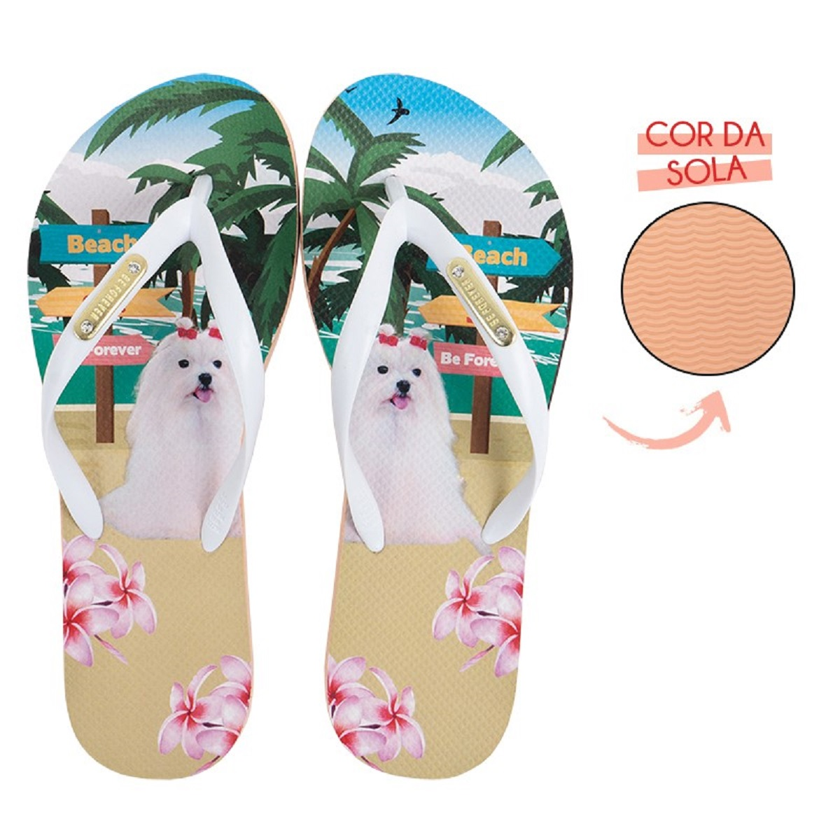 Chinelo Be Forever Maltês Beach And Sea Nude Branco