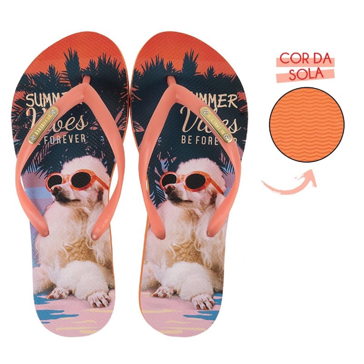 Chinelo Be Forever Poodle Summer Vibes Laranja