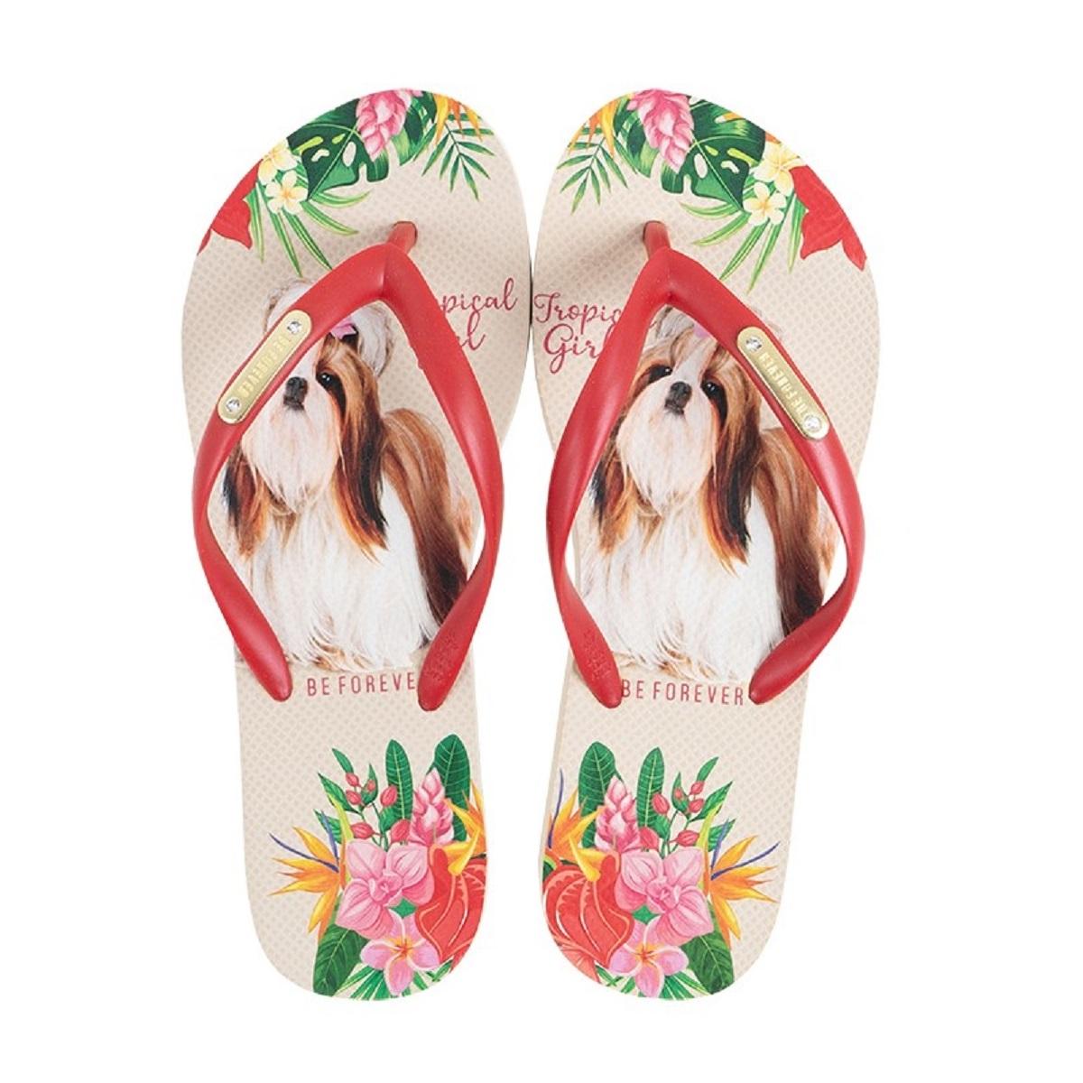 Chinelo Be Forever Shitzu Tropical Girl Vermelho Nude