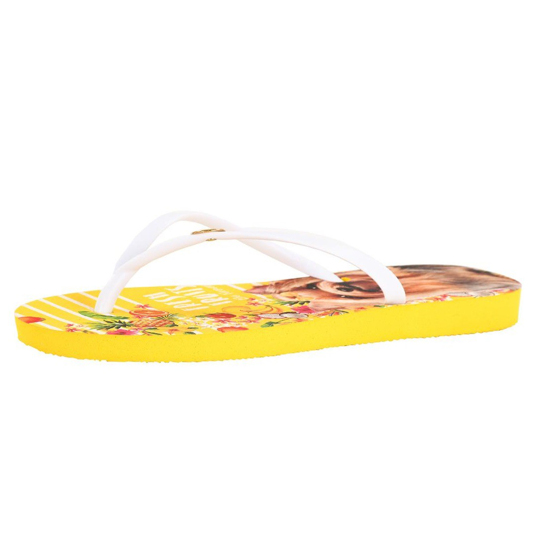 Chinelo Be Forever Yorkshire Branco Amarelo