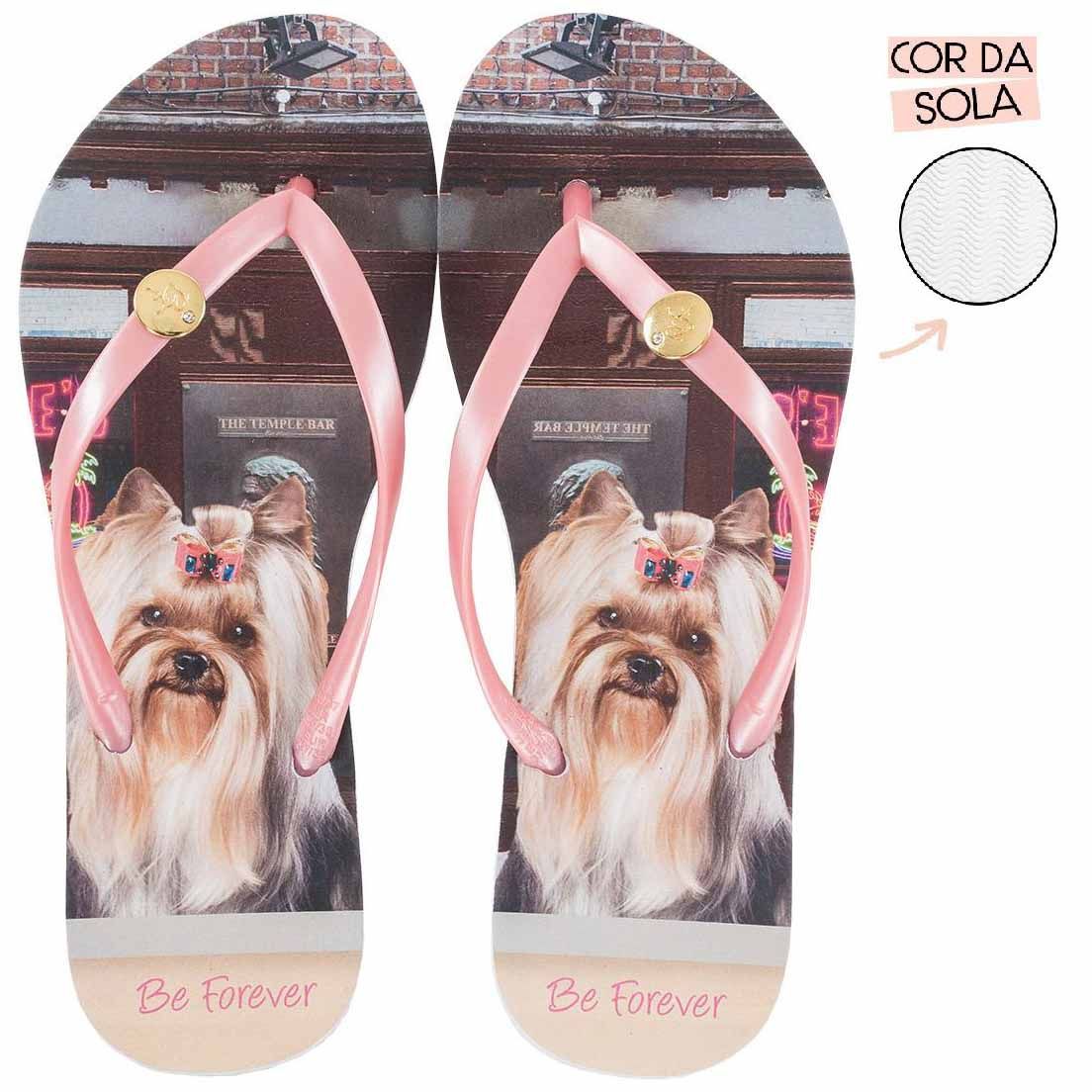 Chinelo Be Forever Yorkshire Burguers Rosa