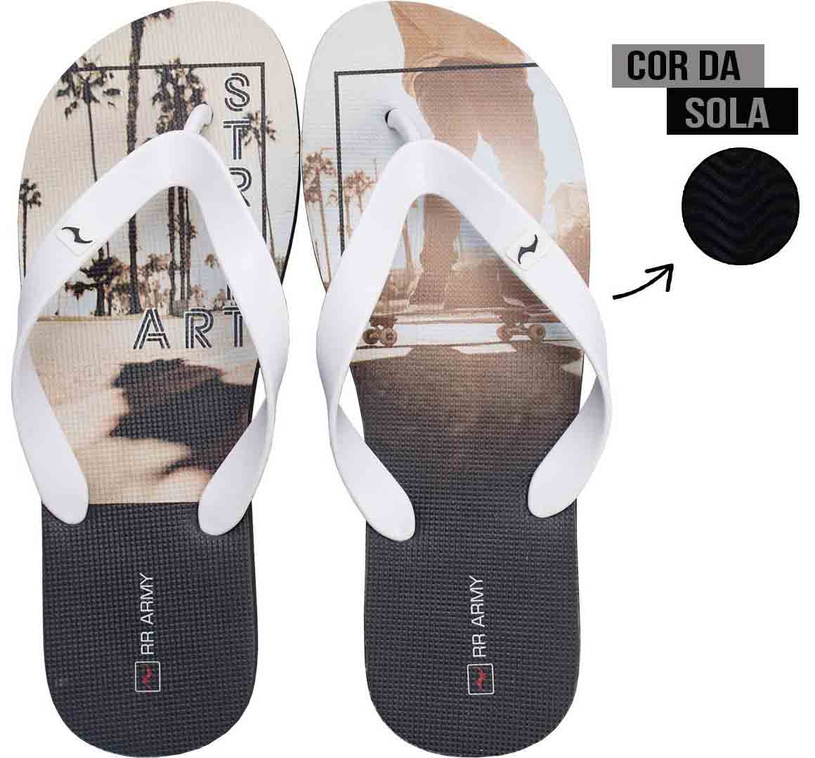Chinelo Branco Street Art RR Army