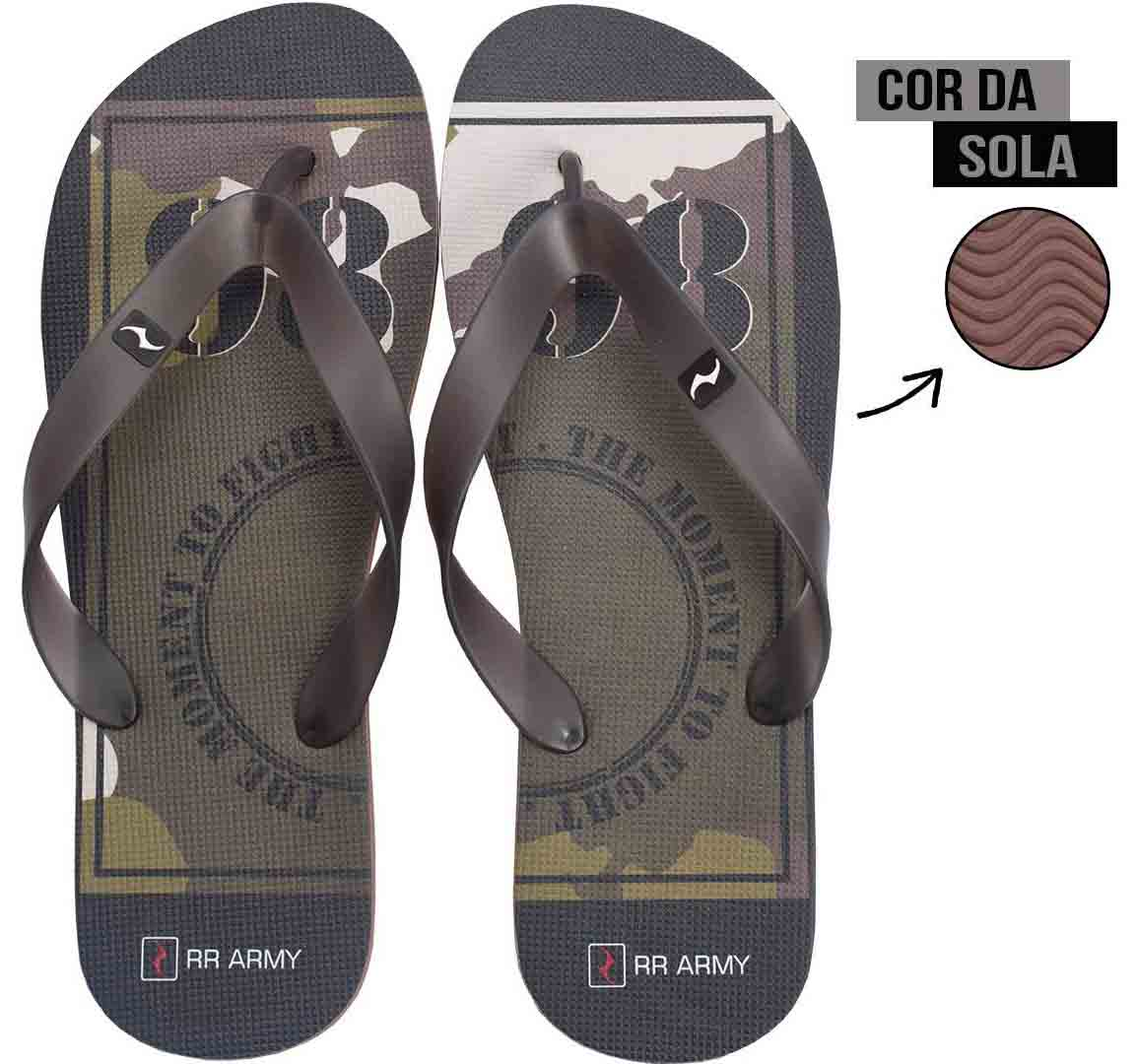 Chinelo Marrom Camuflado Fight RR Army