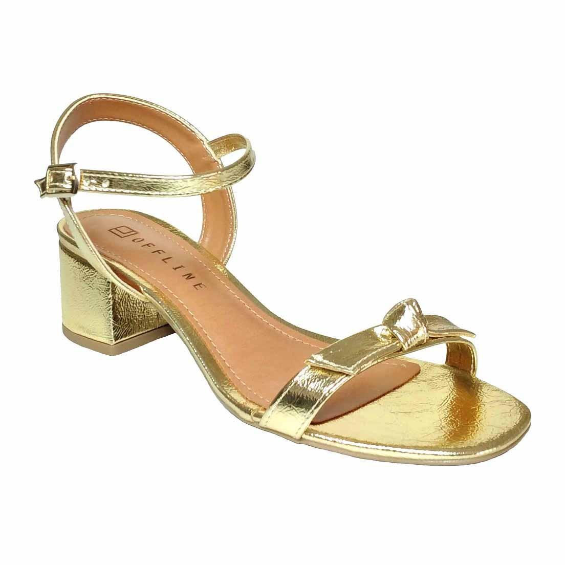 Sandália Offline salto baixo quadrado Dourada