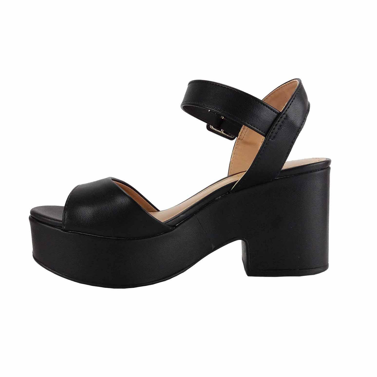 Sandália preto meia pata salto grosso Offline