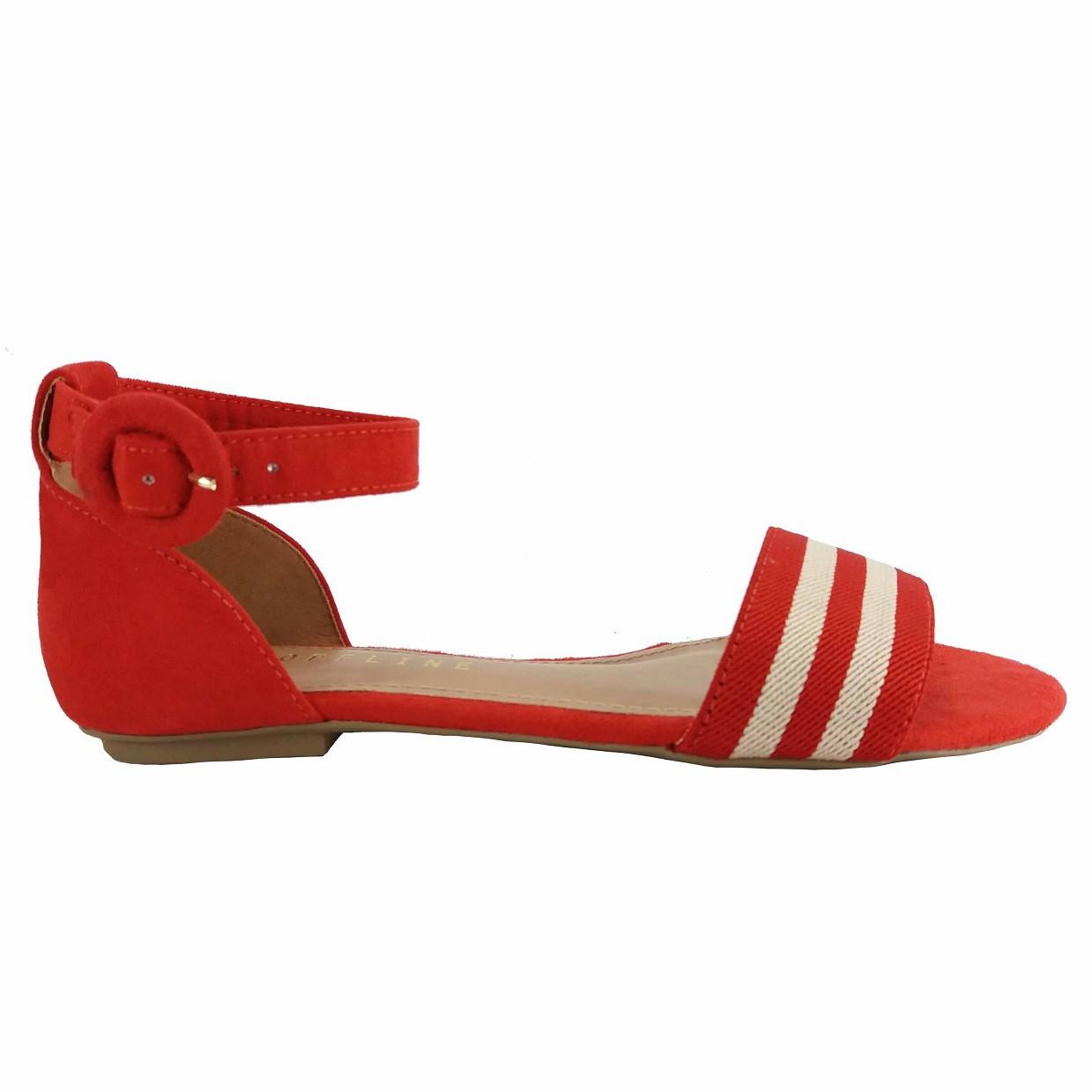 Sandália rasteira suede vermelho Offline