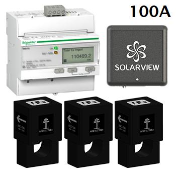 Medidor Inteligente Smart Meter SolarView Polifásico 1ª Geração com 3 TCs Abertos de 100A + Licença SV Web