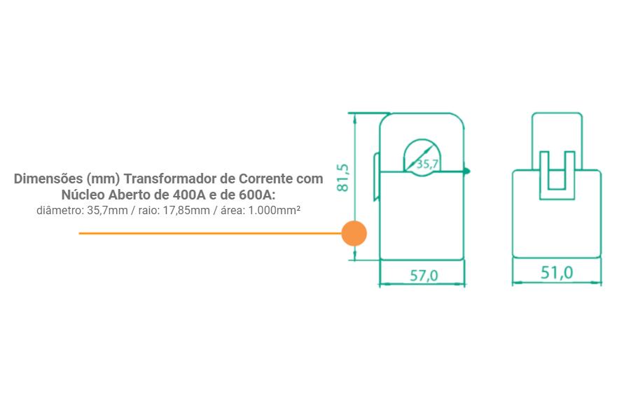 Medidor Inteligente Smart Meter SolarView Polifásico 1ª Geração com 3 TCs Abertos de 600A + Licença SV Web