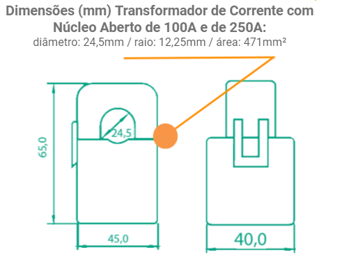 Medidor Inteligente Smart Meter SolarView Polifásico 2ª Geração com 3 TCs Abertos de 100A + Licença SV Web