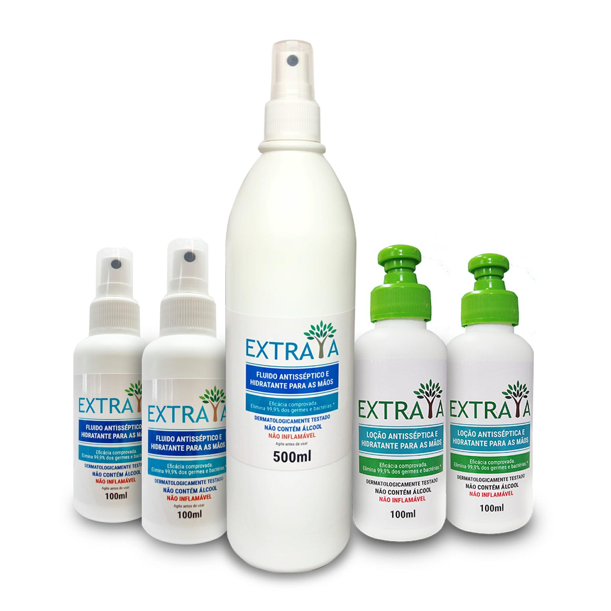 KIT 5 - Spray 500ml, 2 loções 100 ml e 2  sprays 100 ml