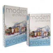 Caixa De Livro De Madeira 2 Peças Architecture
