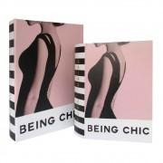 Caixa de livro De Madeira Being Chic 2 peças Rosa