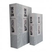 Caixa Livro em Madeira Design Branco Peças 2 30cmx21cmx7cm