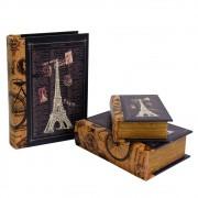 Caixa Livro em Madeira França 2 Peças 29cmx21cmx8cm
