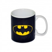 Caneca Porcelana Dc Logo Batman Preto 300ml