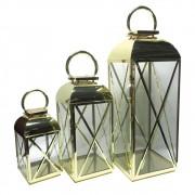 Conjunto de 3 Lanternas De Metal e Vidro Dourada 65cmx25cmx25cm