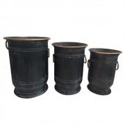 Conjunto De 3 Vasos De Metal Com Detalhes Rose