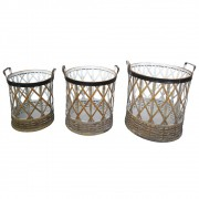 Conjunto de Cesto De Bambu e Matal 3 peças
