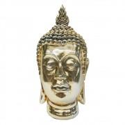Escultura De Resina Cabeça Buddha Dourada  37cmx18cmx18cm