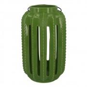 Lanterna Cerâmica Cacto Verde 28cmx17cmx17cm
