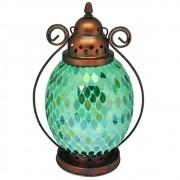 Lanterna de Metal e Vidro Verde 30cmx16cmx16cm