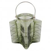 Lanterna De Vidro Com Alça De Metal Estrela 24cmx24cmx24cm