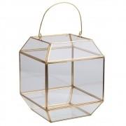 Lanterna de Vidro e Matal Dourada 18cmx18cmx13cm