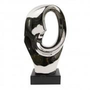 Peça Decorativa Em Resina Prata Art Oval 32cmx17cm x11cm