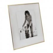 Porta Retrato Em Vidro e Metal Dourado 28cmx23cm