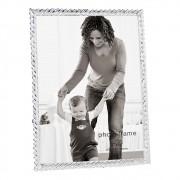 Porta Retrato Em Vidro e Metal Preteado 16,5cmx11,5cm