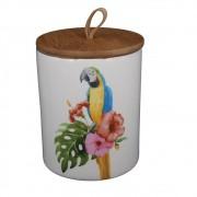 Pote De Cerâmica Branco Com Tampa 15cmx13cm x13cm