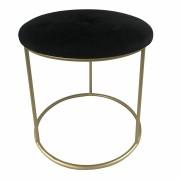 Puff Banqueta Oval De Veludo Preto e Dourado  40cmx35cmx35cm