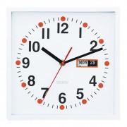 Relógio De Parede Com Calendário Branco 24cmx5cmx24cm