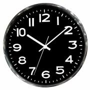 Relógio de Parede em Metal Cromado com Preto Números Grandes 25cm