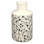 Vaso De Cerâmica Branco Estilo Quartzo  20cmx ø11cmx11cm